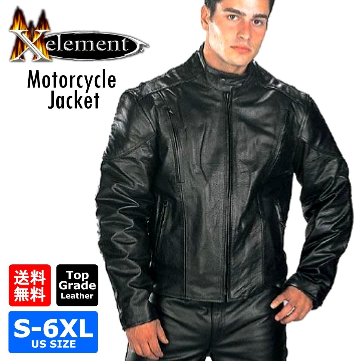 【送料無料!】日本未発売! Xelement 本革 [Men's Top Grade Leather Motorcycle Jacket with Zip-Out Lining] メンズ トップグレードレザー モーターサイクルジャケット ジップアウトライニング! ブラック サイドレース 編み上げ シングルライダース バイカー 大きいサイズ