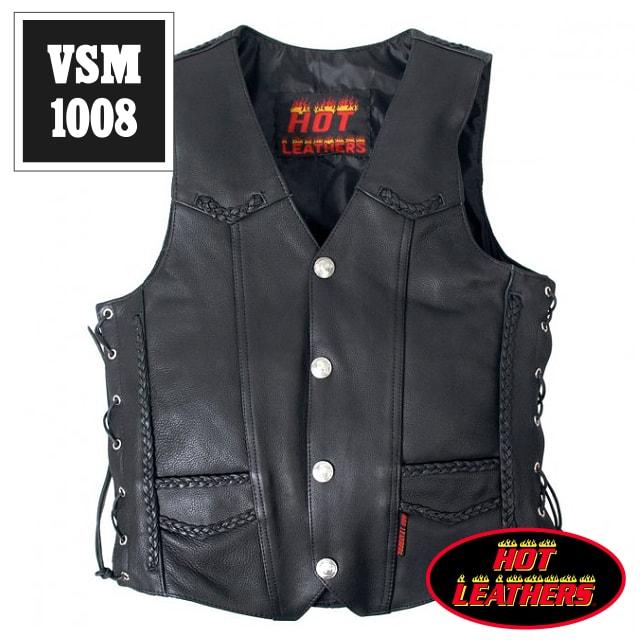 【送料無料!】日本未発売!米国直輸入! ホットレザー 本革 ブレードライン サイドレースアップ ブラック レザーベスト! ウエスト調節可能な両側編み上げスタイル! 黒 カウハイドレザー メンズ [Cowhide Leather Vest] ベスト用アクセサリーに対応! バイクに! 大きいサイズ
