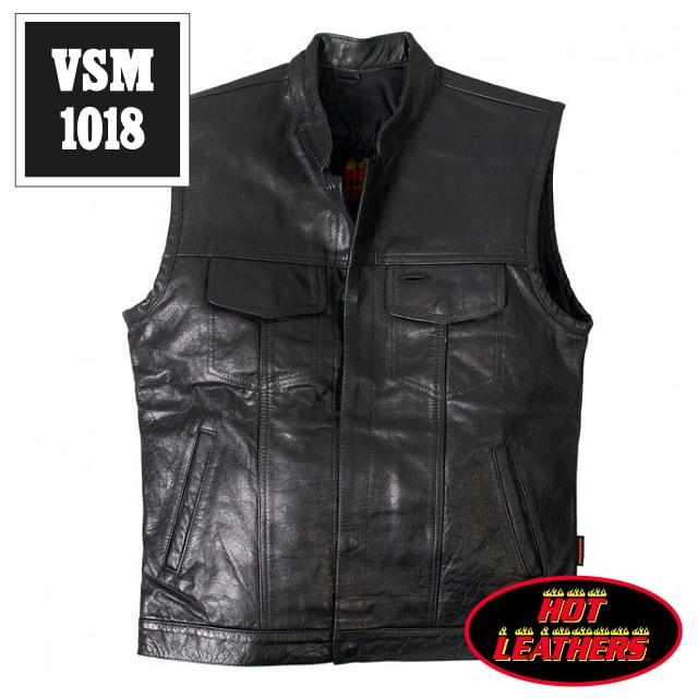 【送料無料!】日本未発売!米国直輸入! ホットレザー 本革 ハンティングベスト型 立襟 ブラック レザーベスト! クラシックスタイル 黒 メンズ カウハイドレザー [Cowhide Leather Vest] ベスト用アクセサリーに対応! バイクに! 大きいサイズ