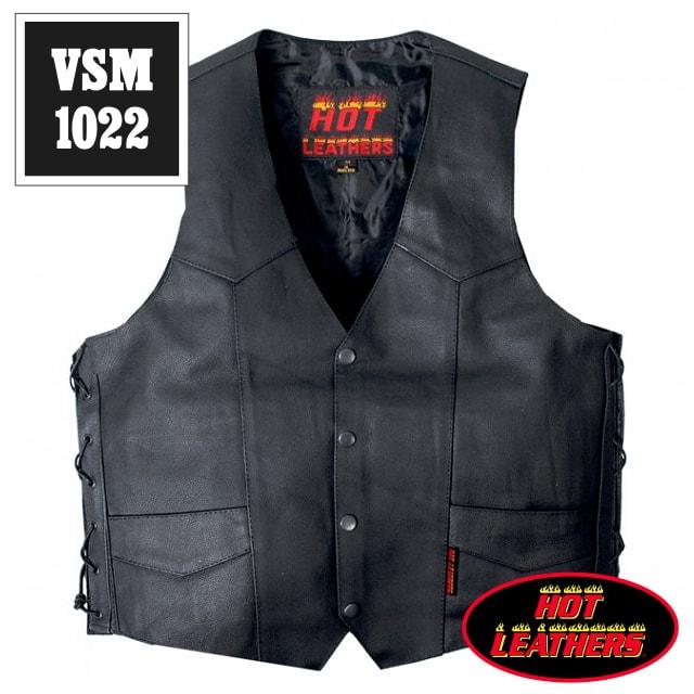 【送料無料!】日本未発売!米国直輸入! ホットレザー 本革 隠しガンポケット サイドレースアップ ブラック レザーベスト! ウエスト調節可能な両側編み上げスタイル! 黒 カウハイドレザー メンズ [Cowhide Leather Vest] ベスト用アクセサリーに対応! バイクに! 大きいサイズ