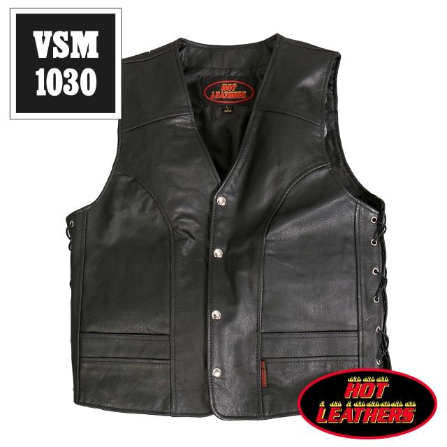 【送料無料!】日本未発売!米国直輸入! ホットレザー 本革 サイドレースアップ アーチ型切替え ブラック レザーベスト! 裾ストレート型 ウエスト調節可能な両側編み上げスタイル! カウハイドレザー メンズ [Cowhide Leather Vest] 黒 バイクに! 大きいサイズ