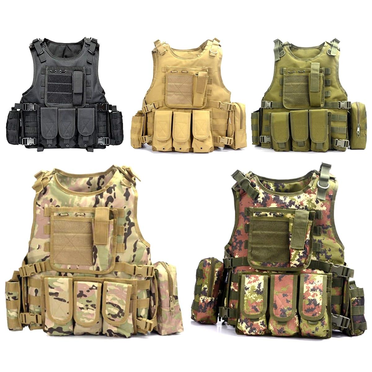 【送料無料!】全5色! フリーサイズ [Men's 5 Bags Phantom Combat Molle Vest] メンズ 5バッグファントムコンバットモールベスト! ミリタリーベスト アーミー ボディアーマー モールシステム カモフラージュ 迷彩 防水 アウトドア 釣り キャンプ サバゲー バイクに!