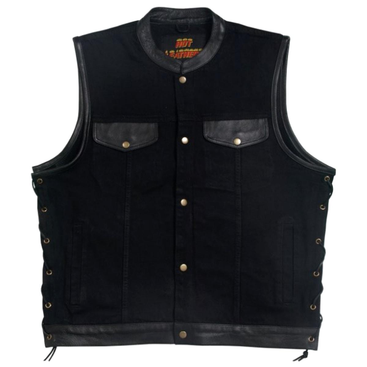 【送料無料!】日本未発売!米国直輸入! ホットレザー サイドレースアップ ブラック デニム & レザー ベスト! ウエスト調節可能な両側編み上げスタイル! メンズ ノースリーブ バイクジャケット [Black Denim and Leather Vest] 黒 本革 バイクに! 大きいサイズ