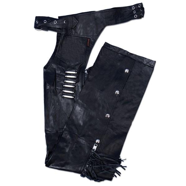レディースブラックレザーチャップス日本未発売!本革!簡単装着!メンズ レディース ユニセックス!大きいサイズOKバイクに!レザーパンツ