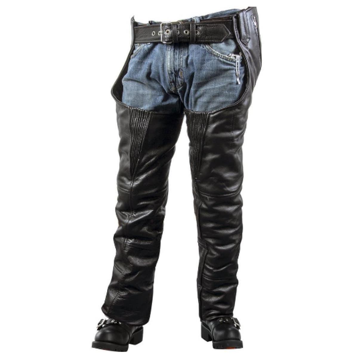 【送料無料!】日本未発売! 米国直輸入! 本革製 [Xelement Men's B7700 Black Comfort High Grade Leather Chaps] メンズ ブラック ハイグレード チャップス! ウエスト調節可能 編み上げ 簡単装着! 2種の裏地でオールシーズン着用OK レザーパンツ バイクに 大きいサイズ