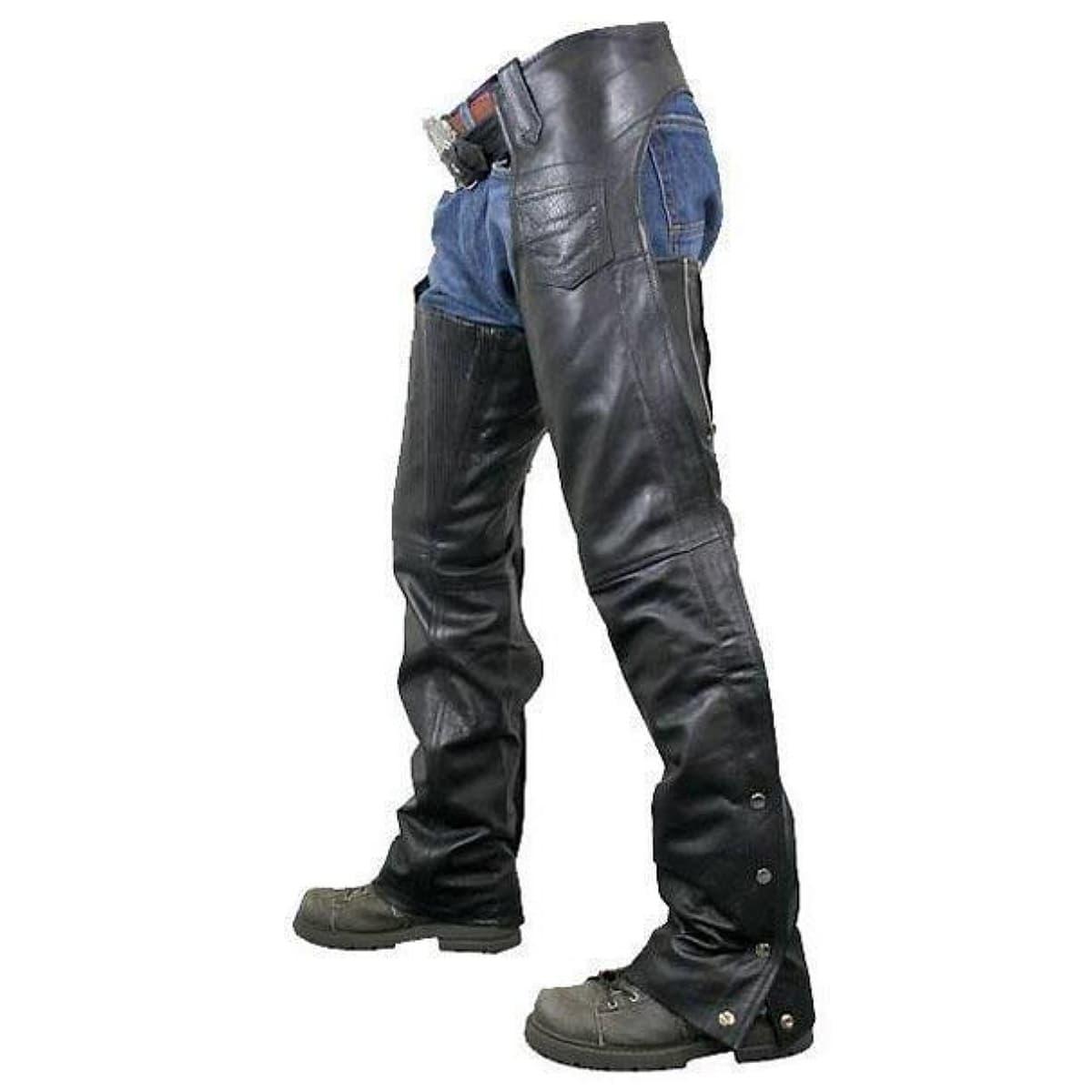 【送料無料!】日本未発売! 米国直輸入! 本革製 [Xelement Men's 7554 Black Advanced Dual Comfort Leather Chaps] メンズ ブラック レザー チャップス! ウエスト調節可能 動きやすいギャザー&ジッパー仕様 レザーパンツ バイクに 大きいサイズ