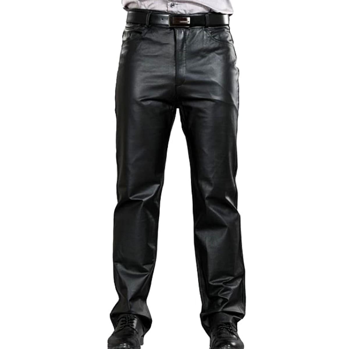【送料無料!】日本未発売! [Genuine Leather Full Length Straight Biker Pants] ジェニュインレザー・フルレングス・ストレート・バイカー・パンツ! 本革 メンズ ブラック クラシックスタイル ジッパーフライ 革ズボン 革パン バイクに! 大きいサイズ!