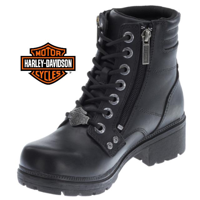 米国直輸入!日本未発売!送料無料!ハーレーダビッドソン・純正 レディース インマンミルズ ブラック レザー ローカット ブーツ ショートブーツ 本革 Harley-Davidson Womens Inman Mills Black Leather Low Cut Boot