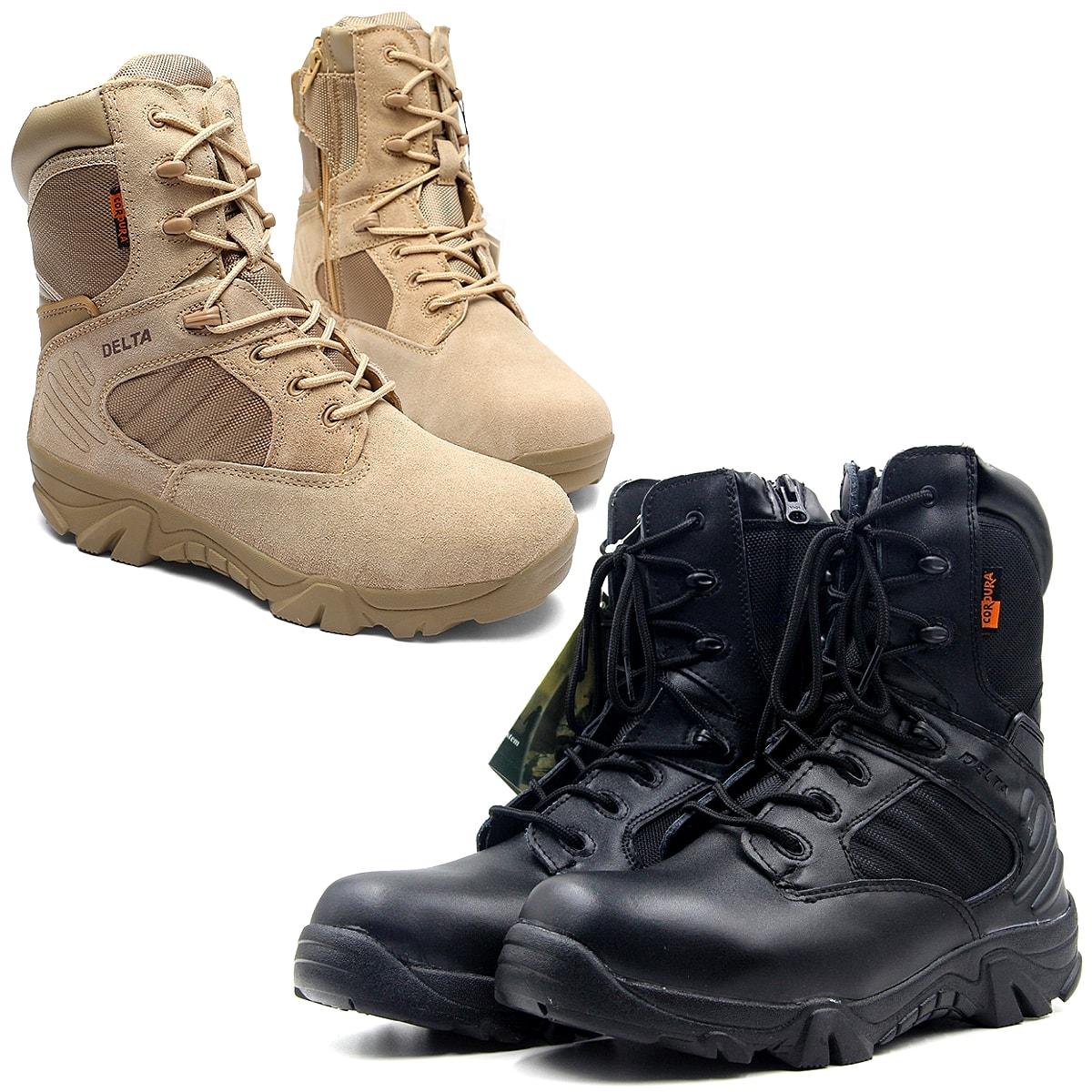 【送料無料!】全2色! [Men's High Top Military Boots] メンズ ハイトップミリタリーブーツ! 靴 シューズ スニーカー マウンテンブーツ アーミー コンバット ミドルブーツ ブラック ベージュ レースアップ ジッパー開閉 牛革スエード アウトドア バイクに!