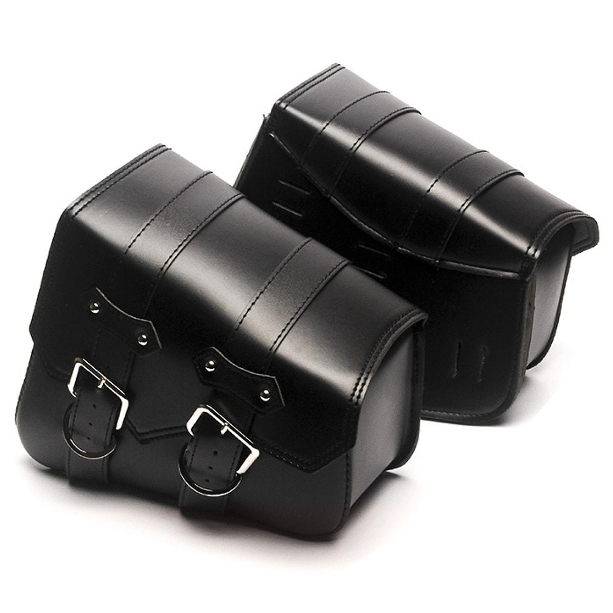 【送料無料!】全2色! 同色2個セット! [Chrome Buckle PU Leather Tool Bag/Saddle Bag Set] クローム・バックル・PUレザー・ツールバッグ サドルバッグ セット! 左右両サイドに取付可能 防水 ストラップ アメリカンバイク バイカー Harley Cruiser Storage Pouch