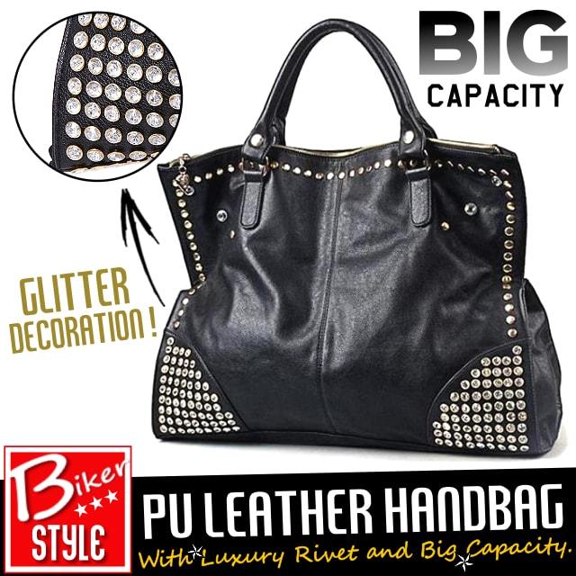7a742031006e [LuxuryRoundRivetPULeatherHandbag]ラグジュアリー・ラウンド・リベット・PUレザー