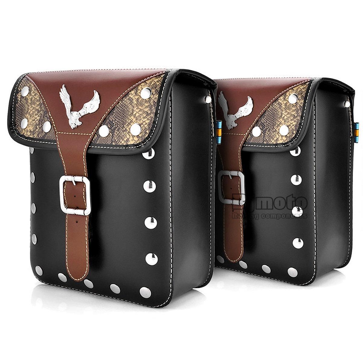 【送料無料!】2個セット! [Chrome Eagle Studs Buckle PU Leather Tool Bag/Saddle Bag] クローム・イーグル・スタッズ・バックル・PUレザー・ツールバッグ サドルバッグ セット! ブラック 黒 鷲 ヘビ柄 パイソン 防水 Motorcycle アメリカンバイク Harley Storage Pouch