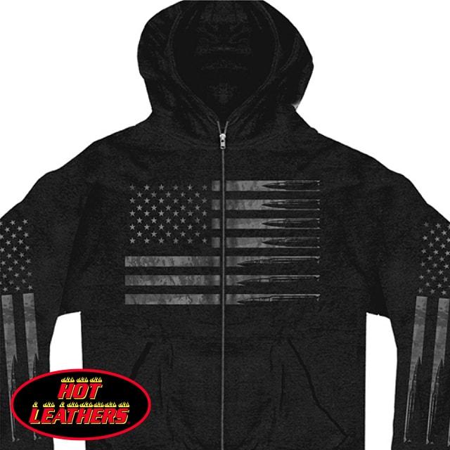 【送料無料!】日本未発売! セール価格! ホットレザー [American Flag Bullets Men's Sweatshirt] アメリカンフラッグ ブレッツ メンズ ジップアップ フード パーカー! フーディー スウェット 米国直輸入! ブラック 黒 英字 星条旗 長袖