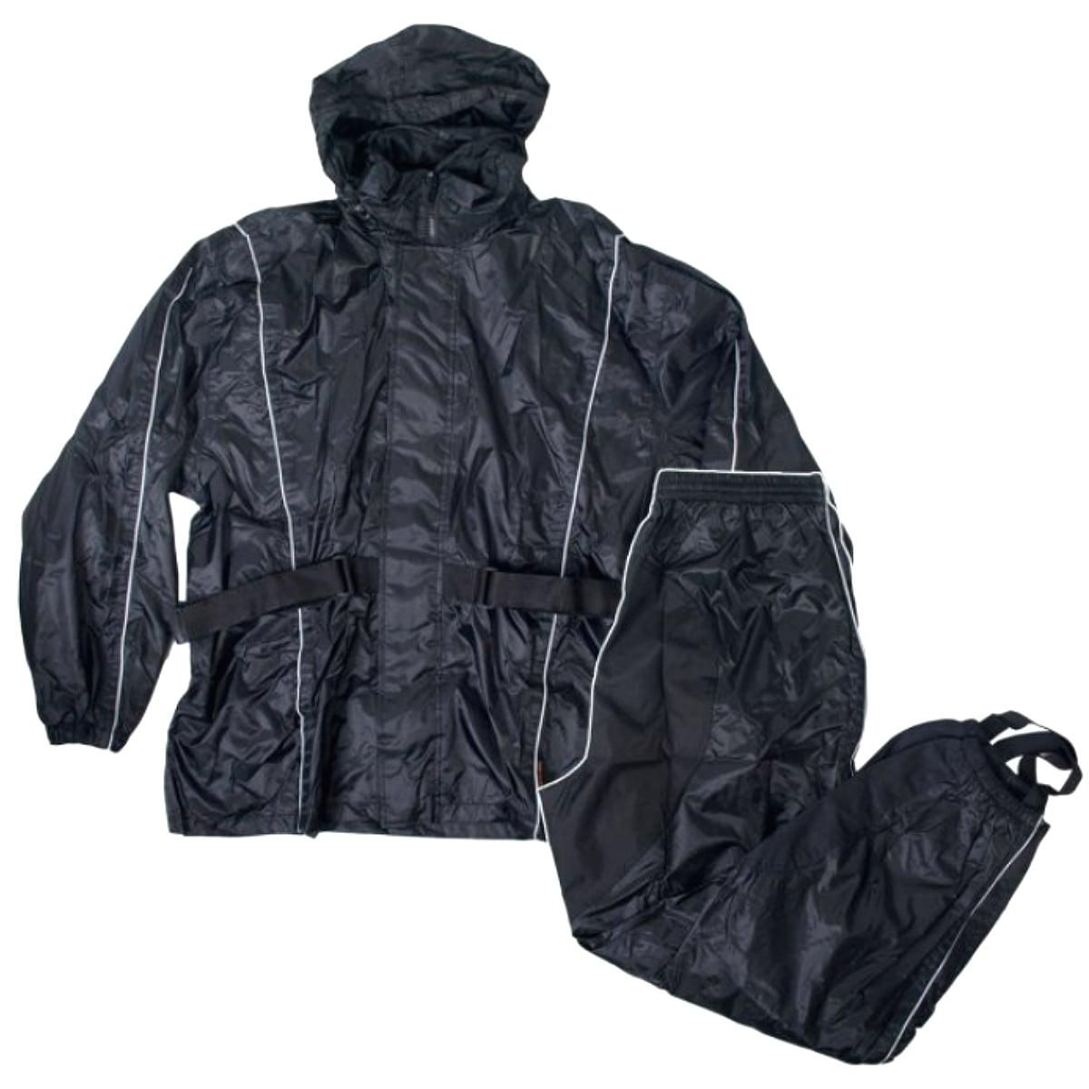 【送料無料!】日本未発売! セール価格! ホットレザー [Nylon Rain Suit w/Tote] ナイロン レインスーツ! レインコート トートバッグ付き リフレクティブパイピング 雨がっぱ 雨具 上下セット ブラック HOTLEATHERS 米国直輸入! バイク 通勤通学に!