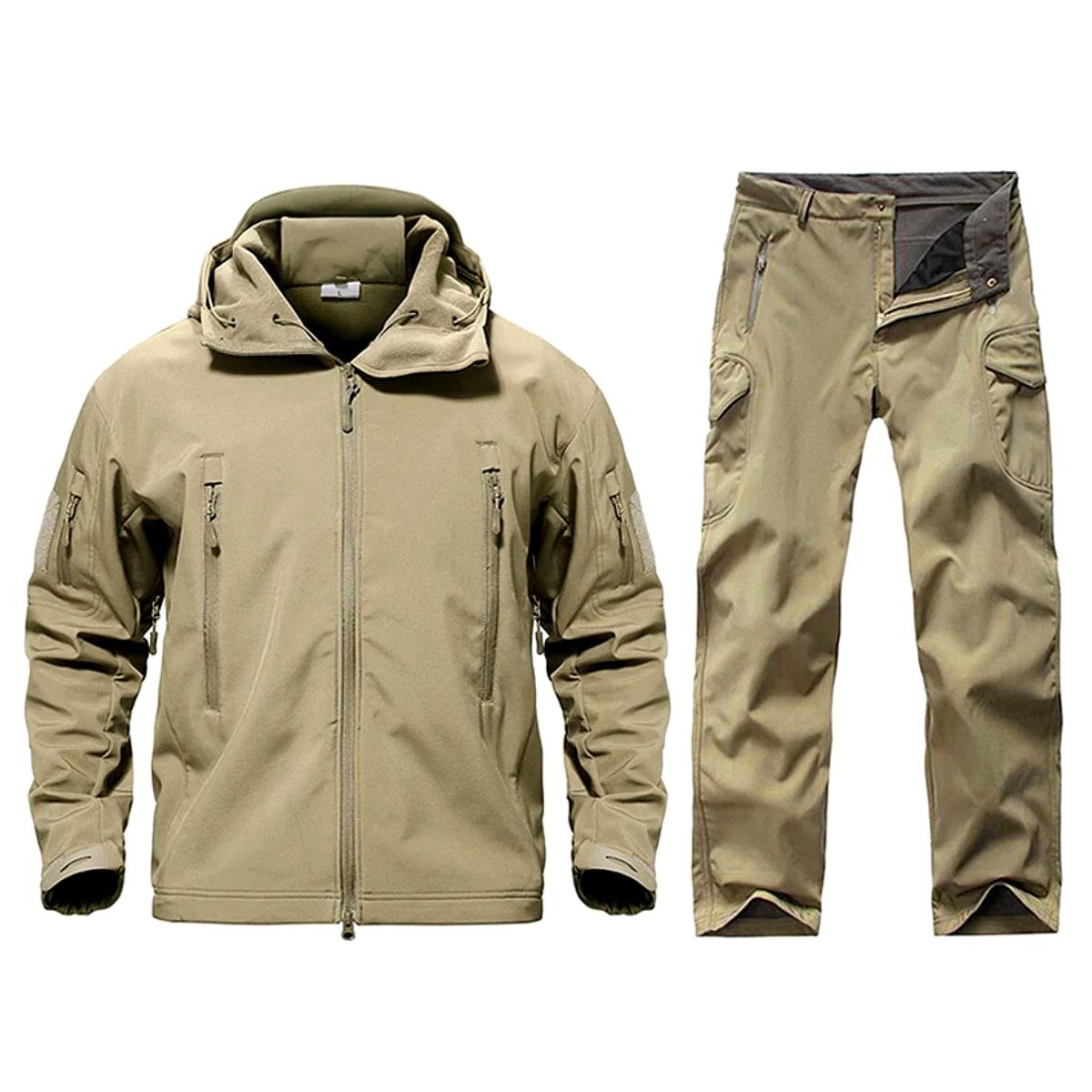 【送料無料!】全10色! 6サイズ! [Men's Waterproof Hooded Tactical Training Suit Set] メンズ ウォータープルーフタクティカルトレーニングスーツセット! ジャケット&パンツ 上下セット セットアップ 長袖 ジャージ ランニング カモフラージュ 迷彩 サバゲー バイクに!