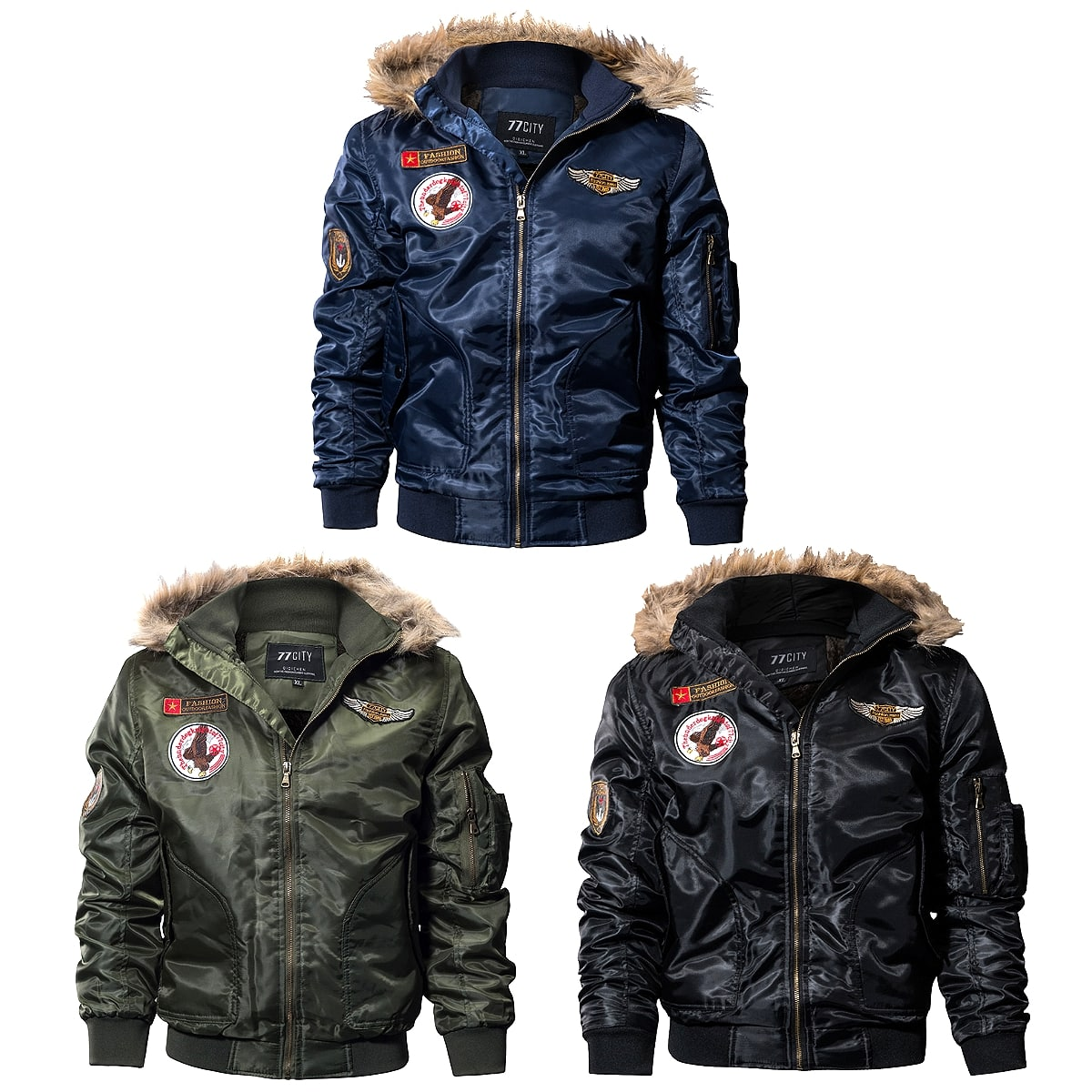 4c6ffde53 All three colors 6 size men military patches wool liner hooded Bonn bar  jacket on blouson jacket coat outer MA-1 motorcycle with the flight jacket  ...