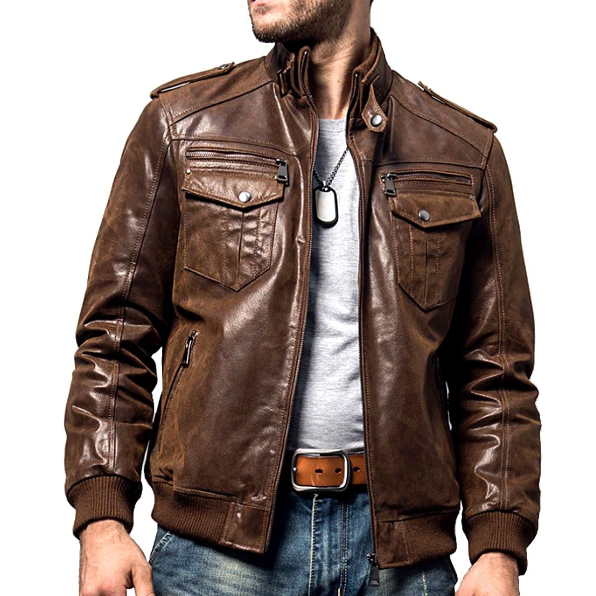 【送料無料!】全2色! 7サイズ! [Men's Pigskin Genuine Leather Motorcycle Jacket] メンズ ピッグスキン ジェニュインレザー モーターサイクルジャケット! 本革 豚革 革ジャン シングル ライダース ブラウン ボンバージャケット スエード コート アウター バイクに!