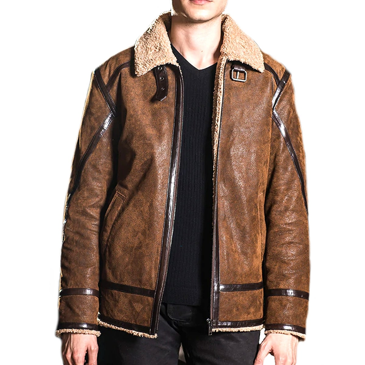 【送料無料!】全10サイズ! [Men's Double Face Fur Pigskin Genuine Leather Jacket] メンズ ダブルフェイスファー ピッグスキン ジェニュインレザージャケット! 本革 豚革 革ジャン ライダース フェイクファー ボア襟 コート アウター バイクに!