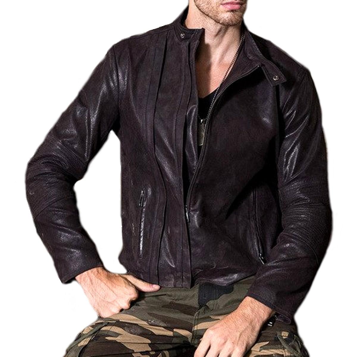 【送料無料!】全10サイズ! [Men's Black Pigskin Genuine Leather Riders Jacket] メンズ ブラック ピッグスキン ジェニュインレザー ライダースジャケット! 本革 豚革 革ジャン シングルライダース コート アウター バイクに!