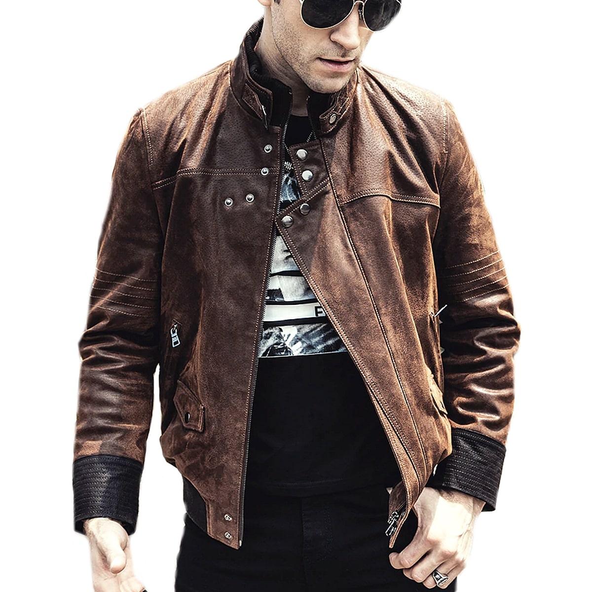 【送料無料!】全10サイズ! [Men's Stand Collar Brown Pigskin Genuine Leather Jacket] メンズ スタンドカラー ブラウン ピッグスキン ジェニュインレザージャケット! 本革 豚革 革ジャン シングルライダース ビンテージ加工 コート アウター バイクに!