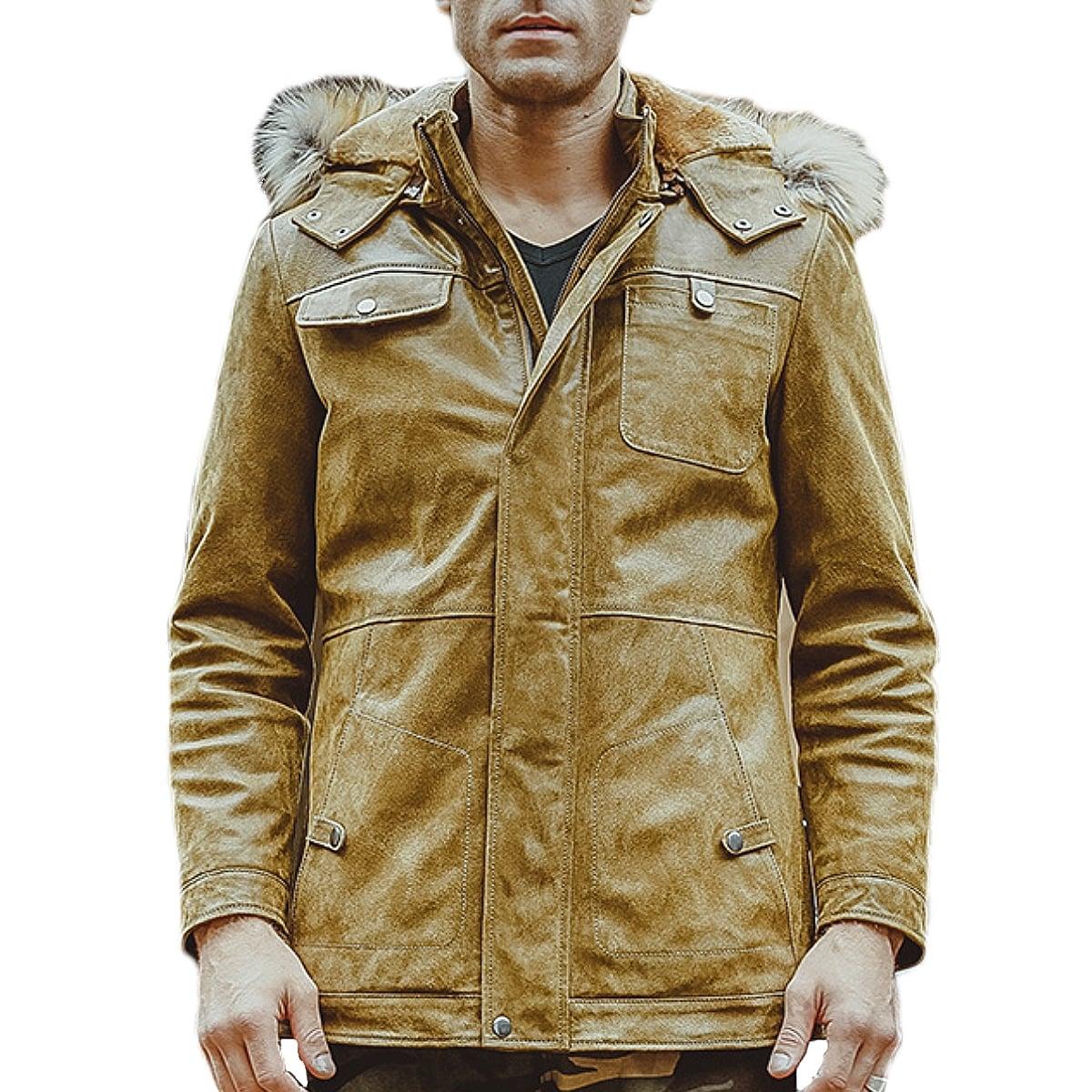 【送料無料!】全10サイズ! [Men's Hooded Fur Yellow Pigskin Genuine Leather Jacket] メンズ フーデッド ファー イエロー ピッグスキン ジェニュインレザージャケット! 本革 豚革 革ジャン ライダース フェイクファー フード付き コート アウター バイクに!
