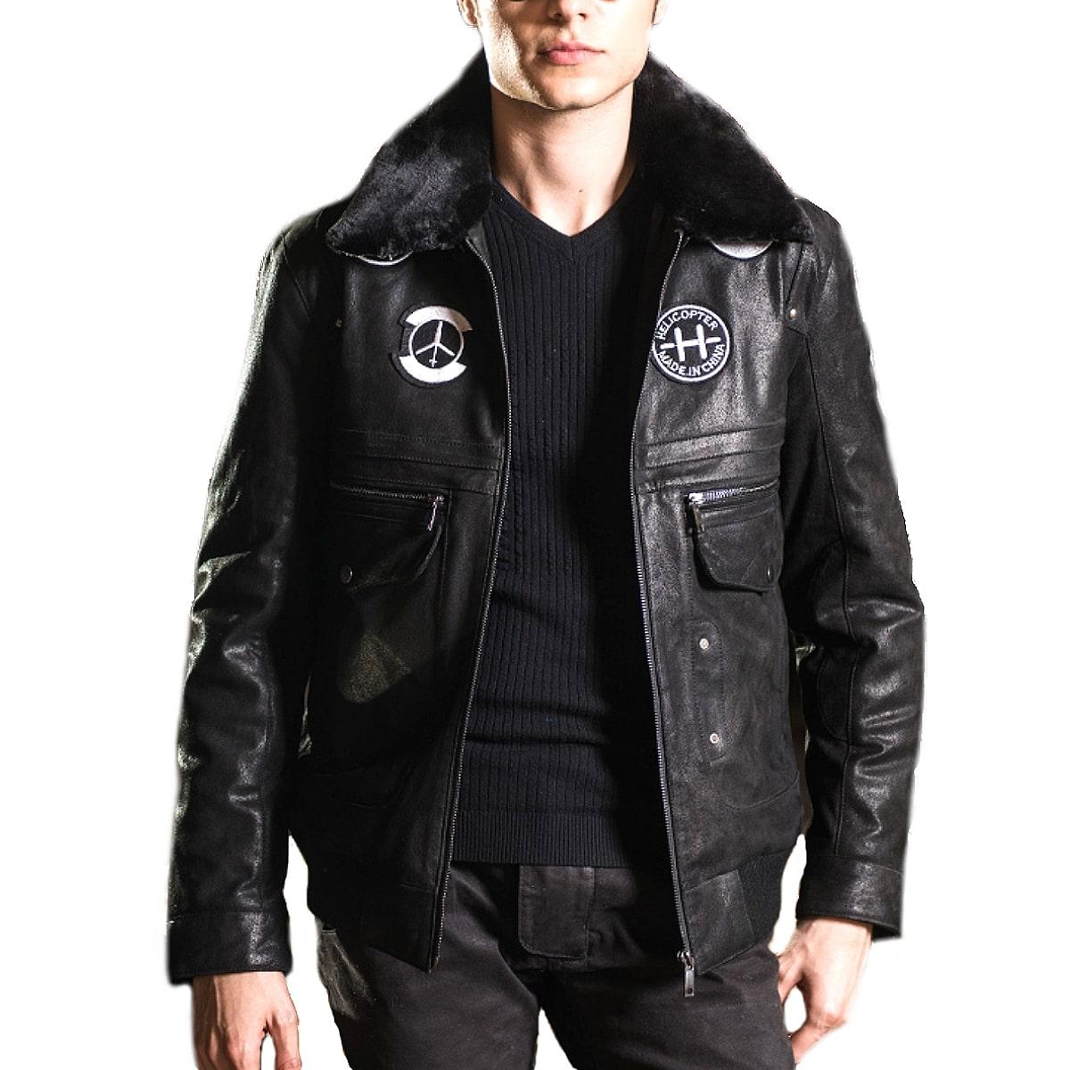 【送料無料!】全2色! 9サイズ! [Men's Pigskin Fur Collar Patches Genuine Leather Jacket] メンズ ピッグスキン ファーカラー ワッペン ジェニュインレザー ジャケット! 本革 豚革 ボンバージャケット フライトジャケット スエード コート アウター バイクに!