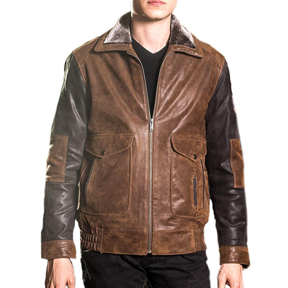 【送料無料!】全9サイズ! [Men's Air Force Vintage Pigskin Genuine Leather Jacket] メンズ エアフォース ビンテージ ピッグスキン ジェニュインレザージャケット! 本革 豚革 革ジャン ライダース ブラウン フェイクファー コート アウター バイクに!