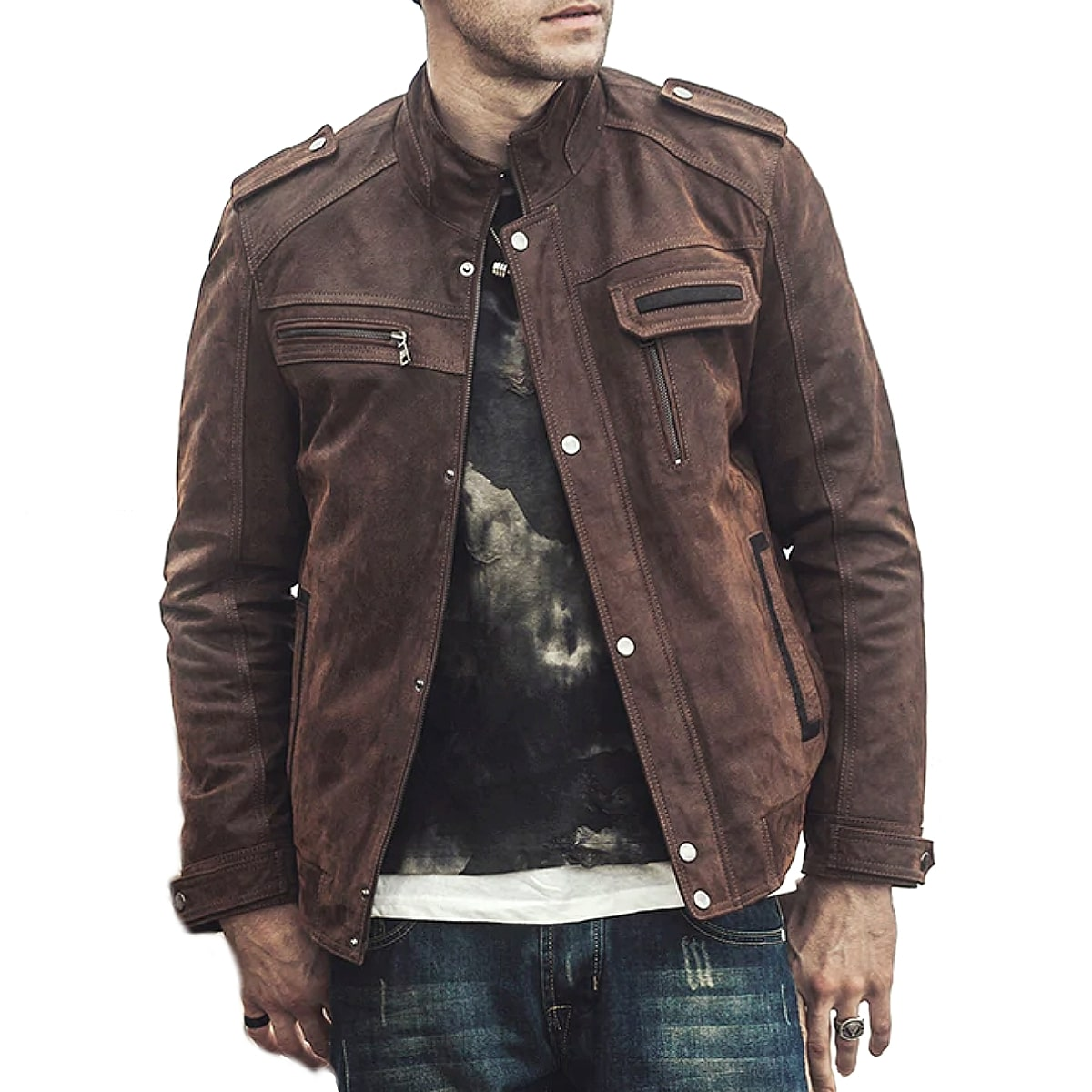 【送料無料!】全2色! 10サイズ! [Men's Pigskin Retro Genuine Leather Riders Jacket] メンズ ピッグスキン レトロ ジェニュインレザー ライダースジャケット! 本革 豚革 ボンバージャケット フライトジャケット スエード コート アウター バイクに!