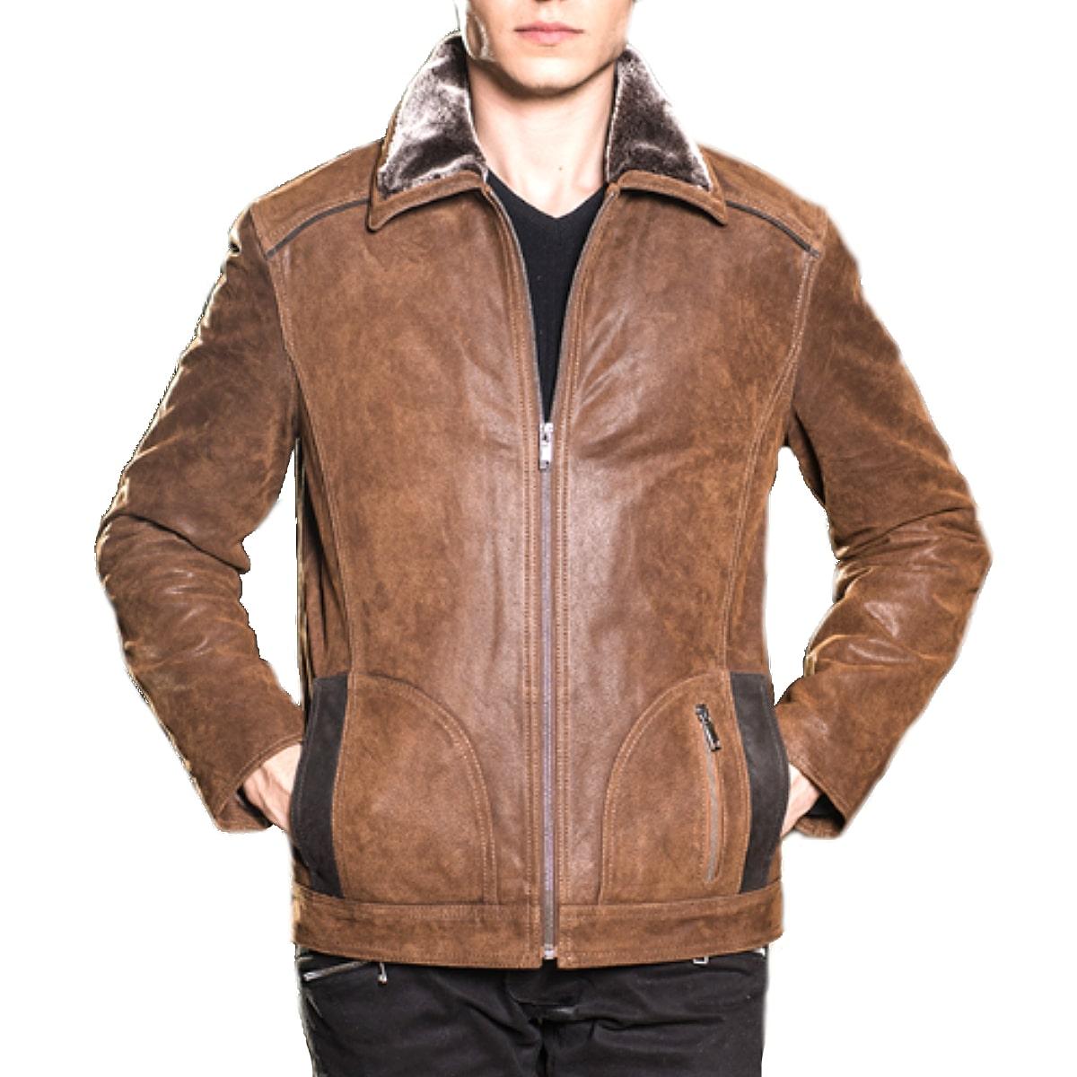 【送料無料!】全10サイズ! [Men's Air Force Vintage Pigskin Genuine Leather Motorcycle Jacket] メンズ エアフォース ビンテージ ピッグスキンレザー モーターサイクル ジャケット! 本革 豚革 革ジャン ライダース ブラウン フェイクファー コート アウター バイクに!