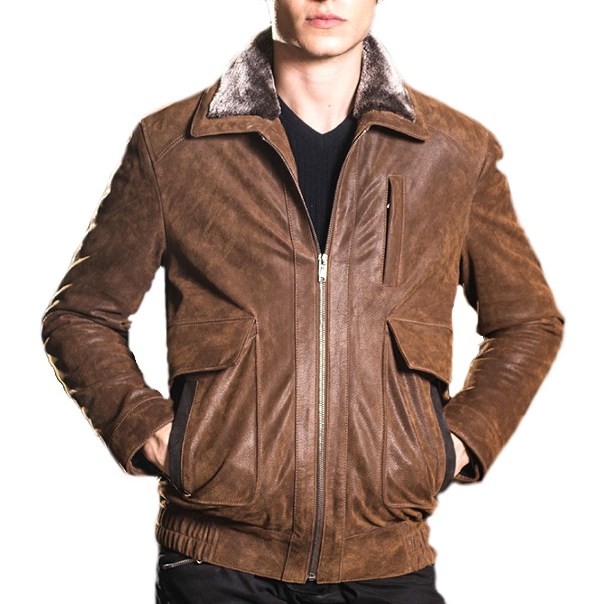 【送料無料!】全10サイズ! [Men's Air Force Vintage Pigskin Pocket Genuine Leather Jacket] メンズ エアフォース ビンテージ ピッグスキン ポケット レザー ジャケット! 本革 豚革 革ジャン ライダース ブラウン フェイクファー コート アウター バイクに!