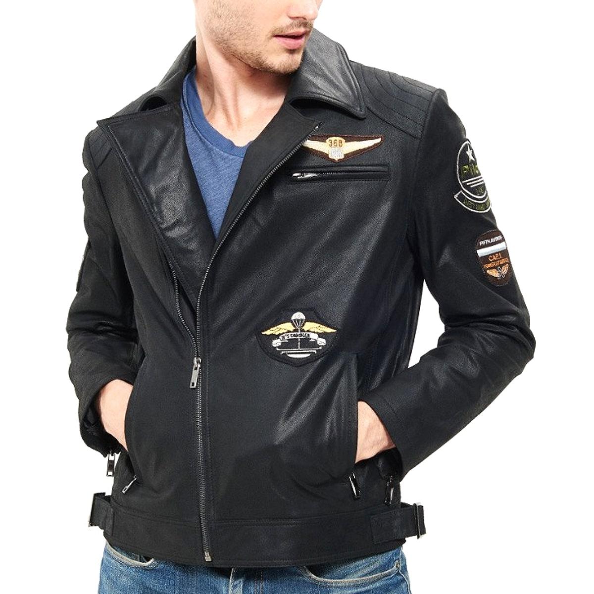 【送料無料!】全10サイズ! [Men's Black Pigskin Genuine Leather Patches Flight Jacket] メンズ ブラック ピッグスキン ジェニュインレザー ワッペン フライトジャケット! 本革 豚革 革ジャン ダブルライダース 黒 アメカジ コート アウター バイクに!