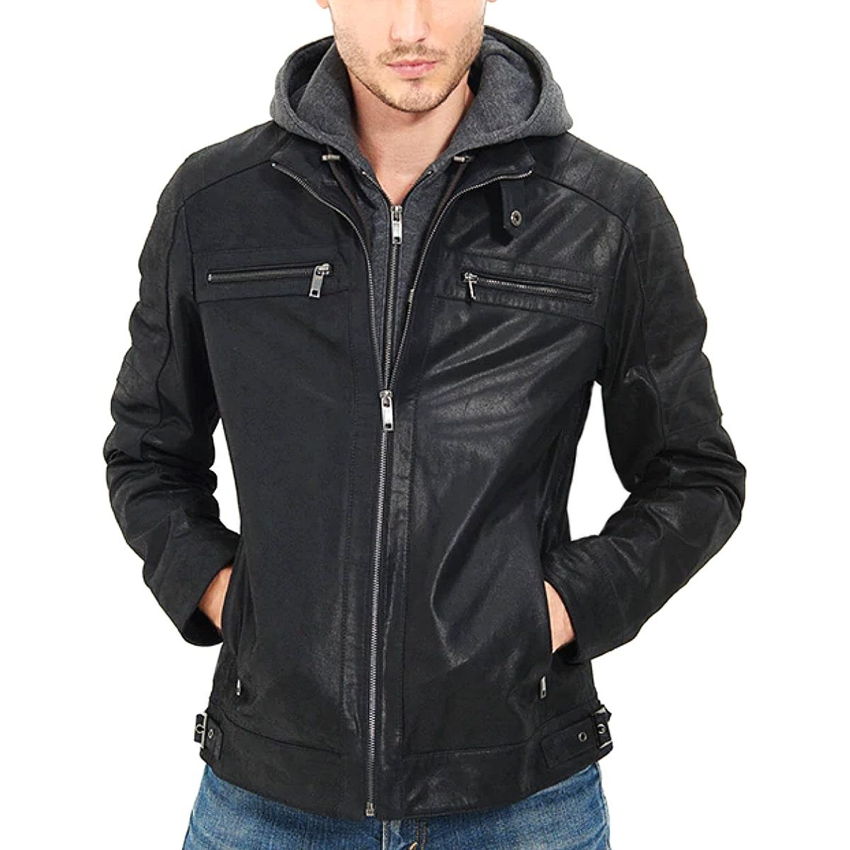 【送料無料!】フード着脱可能! 全10サイズ! [Men's Double Closure Black Pigskin Genuine Leather Jacket] メンズ ダブルクロージャー ブラック ピッグスキン ジェニュインレザージャケット! 本革 豚革 革ジャン ライダース パーカー 重ね着風 コート アウター バイクに!