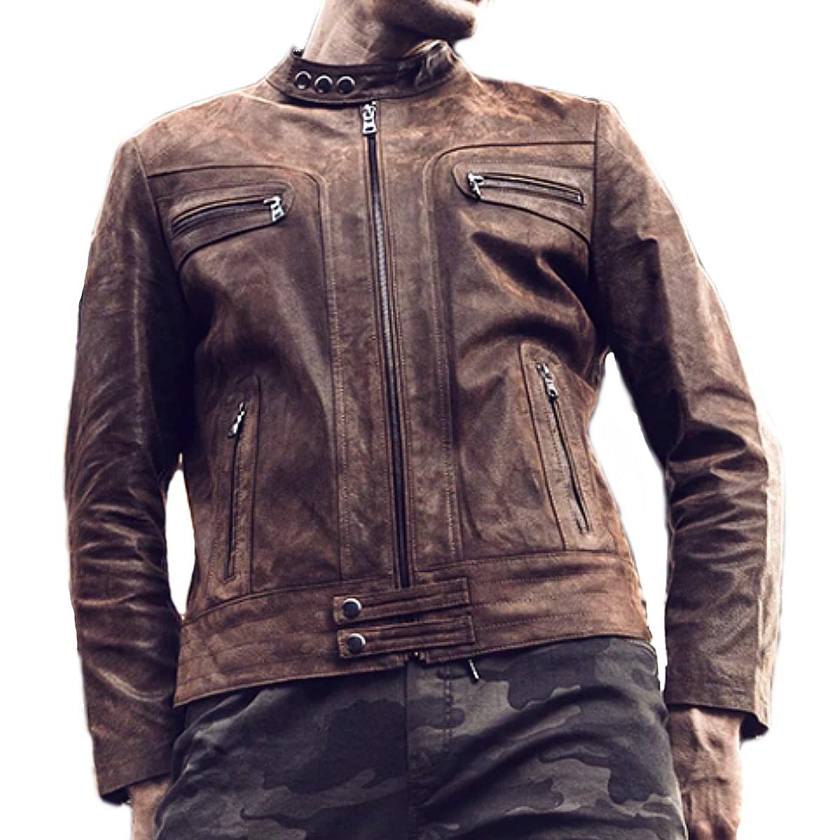 【送料無料!】全10サイズ! [Men's Vintage Pigskin Genuine Leather Single Riders Jacket] メンズ ビンテージ ピッグスキン ジェニュインレザー シングルライダースジャケット! 本革 豚革 革ジャン ブラウン コート アウター バイクに!