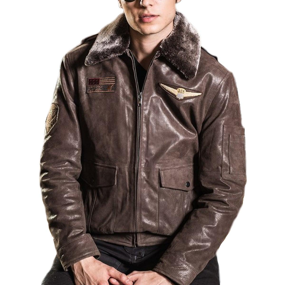 【送料無料!】全9サイズ! [Men's Fur Collar Brown Pigskin Genuine Leather Aviator Jacket] メンズ ファーカラー ブラウン ピッグスキン ジェニュインレザー アビエーター ジャケット! 本革 豚革 革ジャン フェイクファー コート アウター バイクに!
