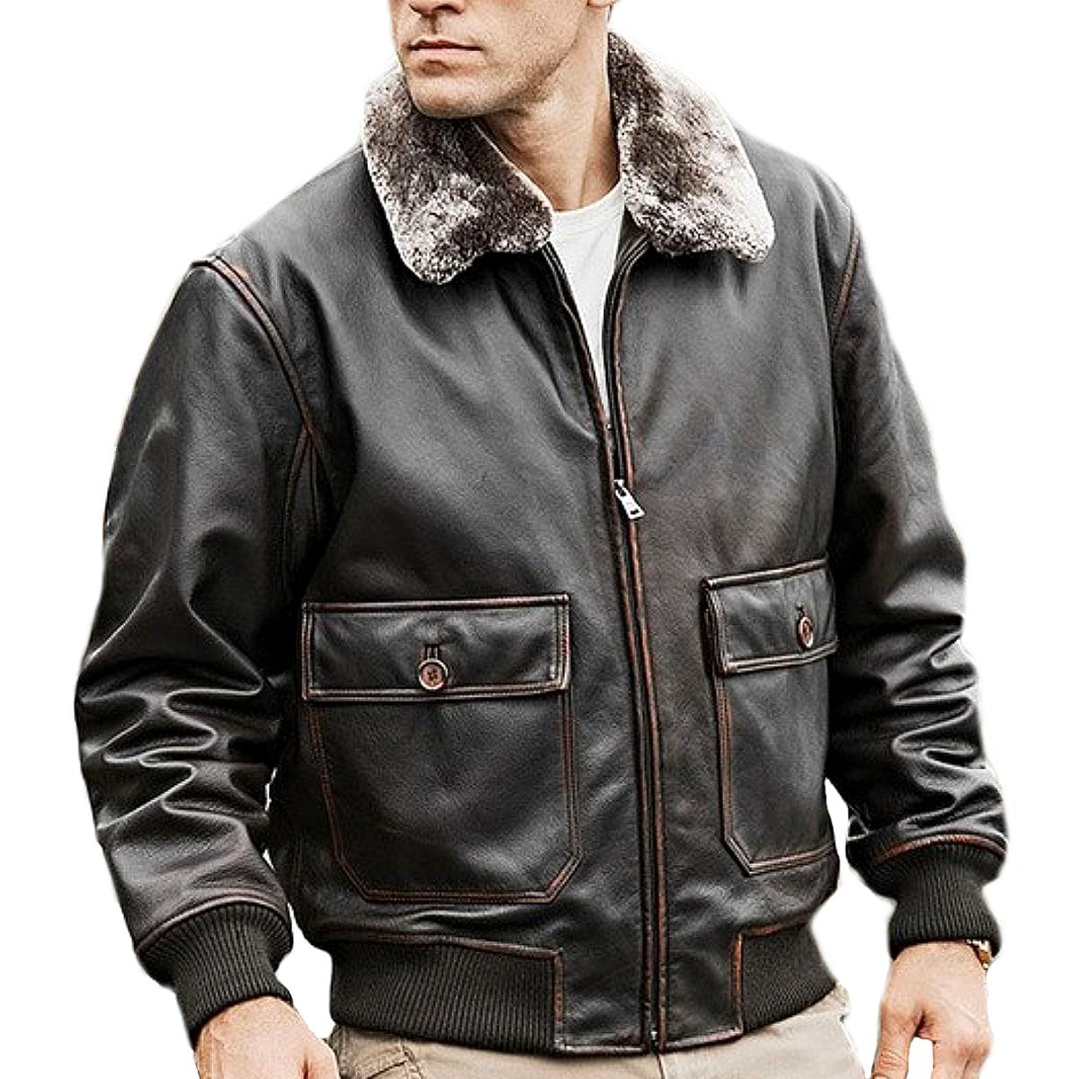 【送料無料!】全6サイズ! [Men's Removable Fur Collar Brown Cowhide Leather Pilot Jacket] メンズ リムーバブルファーカラー ブラウン カウハイドレザー パイロットジャケット! 本革 牛革 革ジャン ボンバージャケット アビエーター コート アウター バイクに!