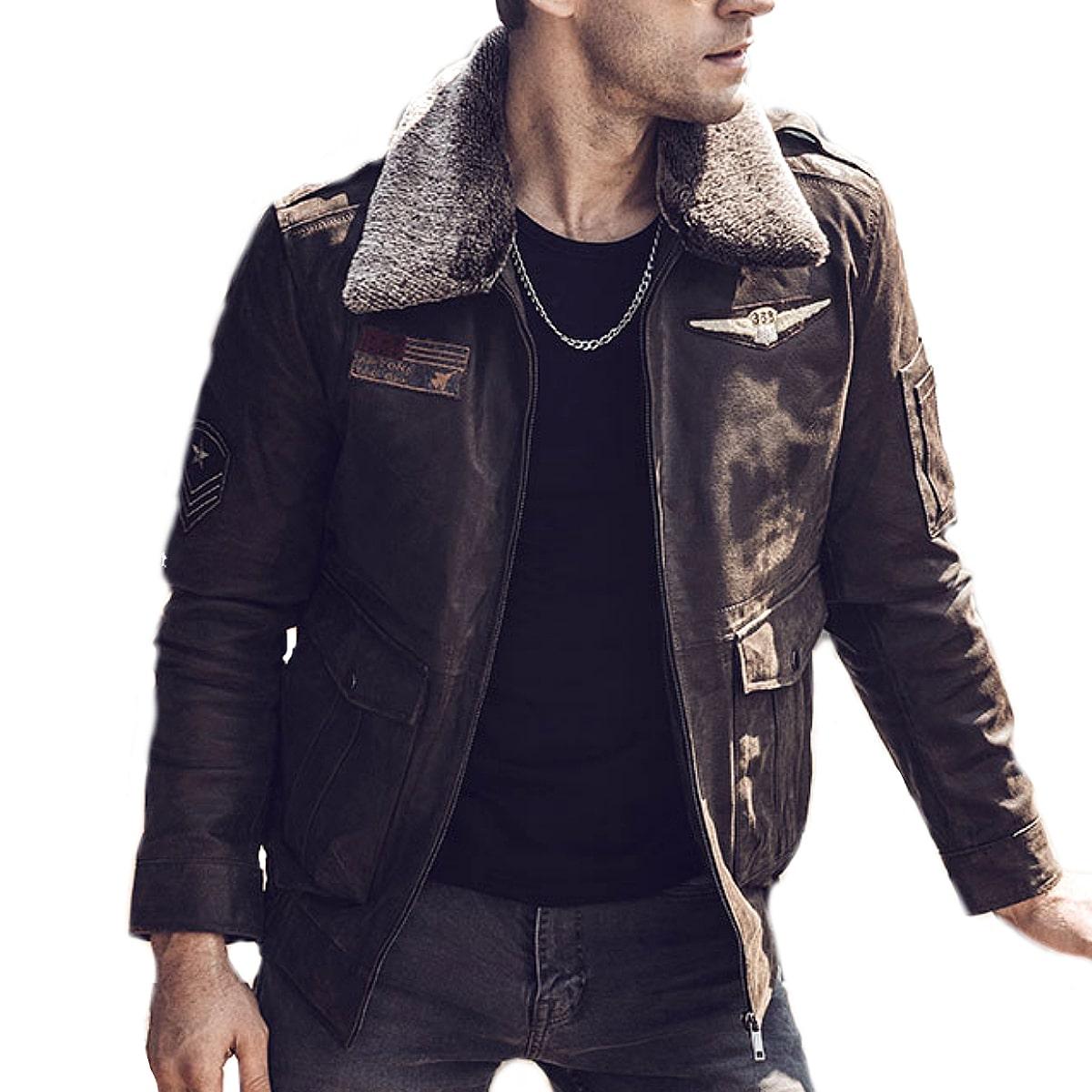 【送料無料!】全10サイズ! [Men's Aviator Pigskin Genuine Leather Jacket] メンズ アビエーター ピッグスキン ジェニュインレザー ジャケット! 本革 豚革 革ジャン ブラウン 茶 フライトジャケット ボア ワッペン ライダース コート アウター バイクに!