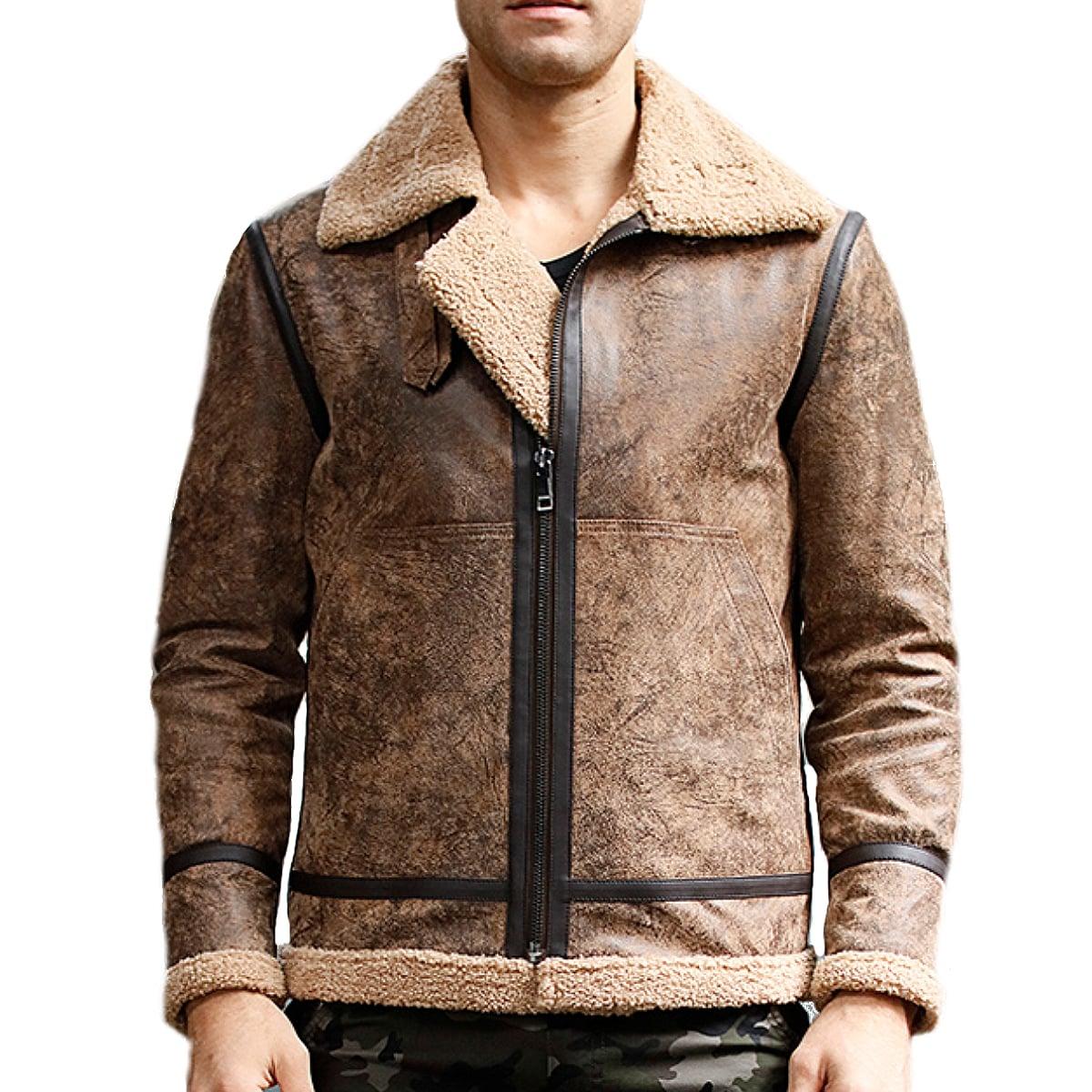 【送料無料!】全10サイズ! [Men's Aviator Pigskin Genuine Leather Flight Jacket] メンズ アビエーター ピッグスキン ジェニュインレザー フライトジャケット! 本革 豚革 革ジャン ブラウン 茶 ボア ワッペン ライダース コート アウター バイクに!