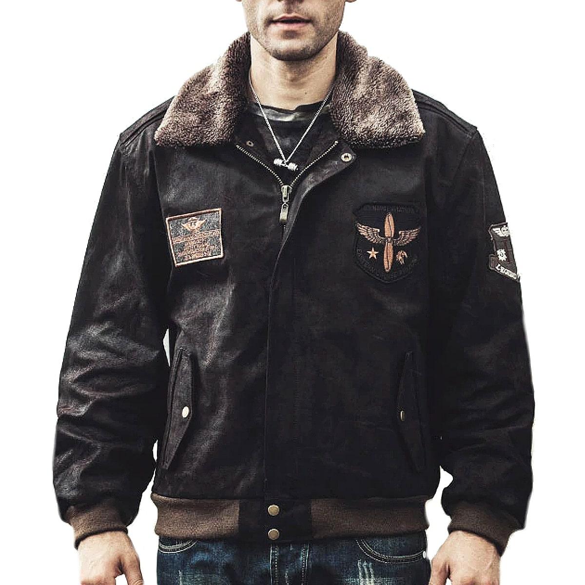 【送料無料!】全10サイズ! [Men's Dark Brown Pigskin Genuine Leather Bomber Jacket] メンズ ダークブラウン ピッグスキン ジェニュインレザー ボンバージャケット! 本革 豚革 革ジャン ライダース コート ワッペン アーミー アメカジ アウター バイクに!