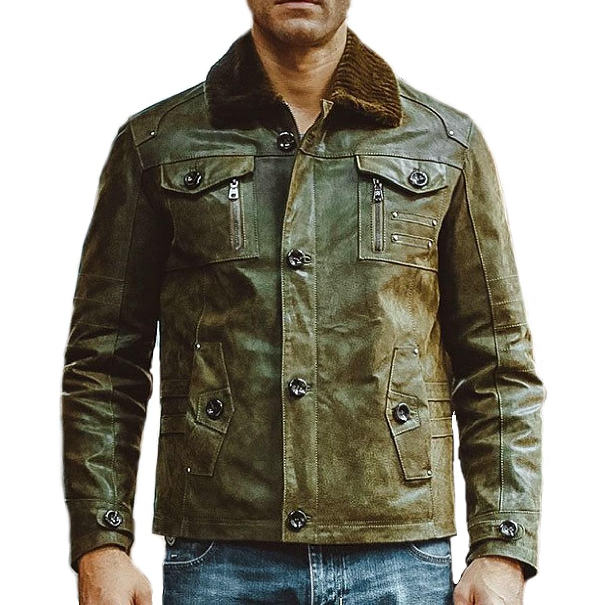 【送料無料!】全10サイズ! [Men's Fur Collar Button Army Green Pigskin Genuine Leather Jacket] メンズ ファーカラー ボタン アーミーグリーン ピッグスキン ジェニュインレザージャケット! 本革 豚革 革ジャン グリーン ミリタリー コート アウター バイクに!
