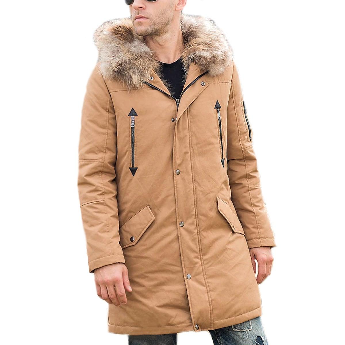 【送料無料!】全10サイズ! [Men's Raccoon Fur Liner Hood White Duck Down Long Jacket] メンズ ラクーンファーライナー フード ホワイトダックダウン ロングジャケット! リアルファー 中綿ダウン フード付き カーキ ベージュ ミリタリー モッズコート アウター バイクに!