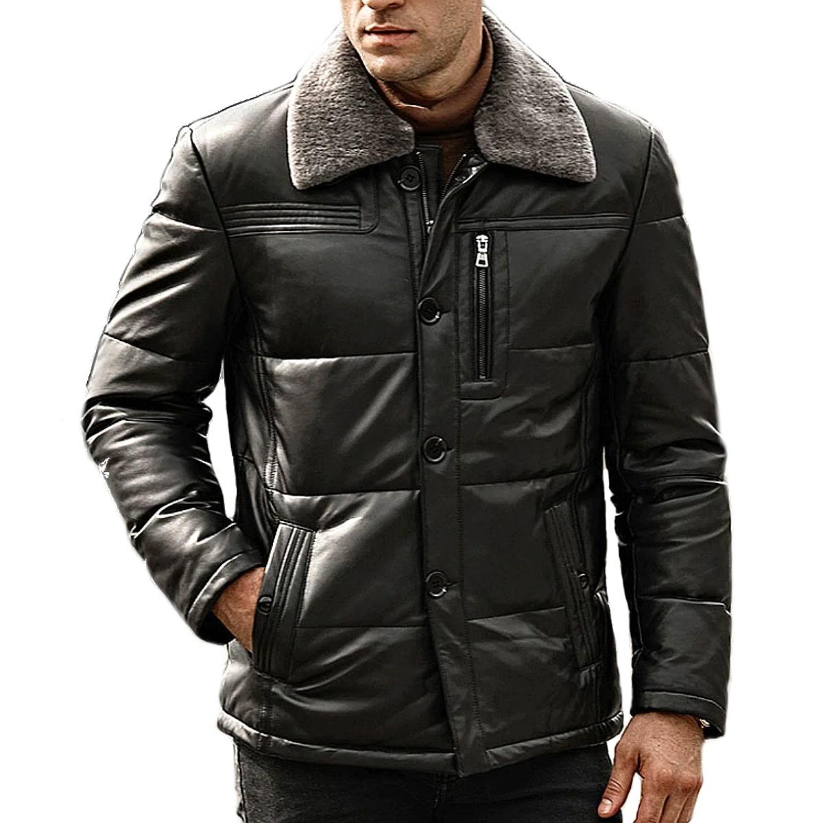 【送料無料!】全10サイズ! [Men's Sheep Fur Collar Black Lambskin Genuine Leather Duck Down Jacket] メンズ シープファーカラー ブラック ラムスキン ジェニュインレザー ダックダウンジャケット! 本革 山羊革 ダウンコート 中綿 羽毛 黒 アウター バイクに!