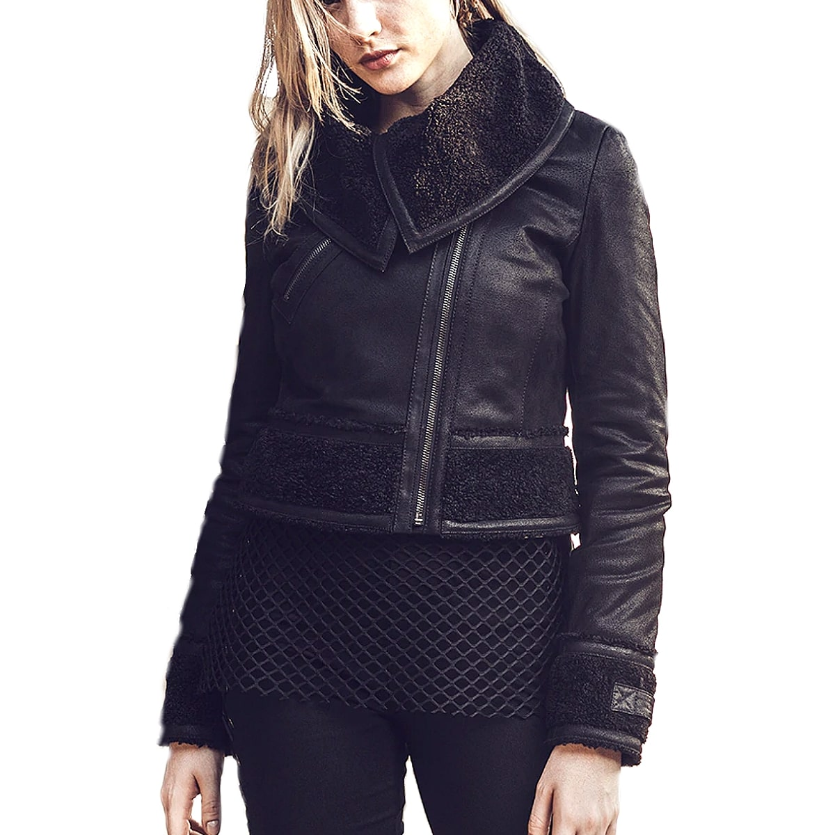 【送料無料!】全7サイズ! [Women's Black Pigskin Genuine Leather Short Riders Jacket] レディース ブラック ピッグスキン ジェニュインレザー ショート ライダースジャケット! ウィメンズ 女性用 本革 豚革 革ジャン ブラック ボア コート アウター バイクに!