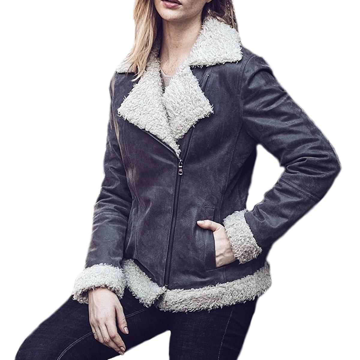 【送料無料!】全7サイズ! [Women's Faux Fur Shearling Pigskin Genuine Leather Jacket] ウィメンズ フェイクファー ムートン ピッグスキン ジェニュインレザー ジャケット! レディース 女性用 本革 豚革 革ジャン ダークグレー ボア ライダース コート アウター バイクに!
