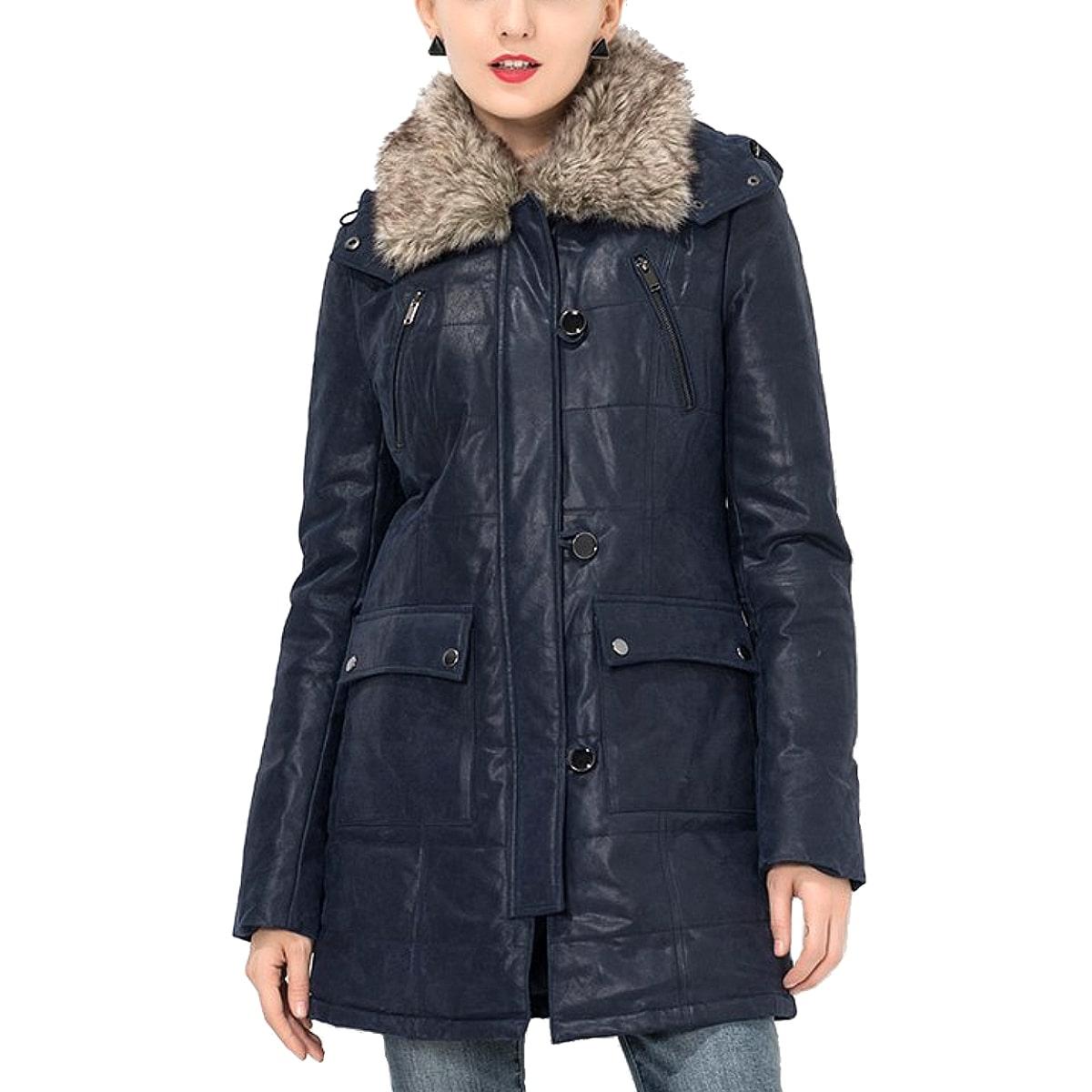 【送料無料!】全7サイズ! [Women's Detachable Fur Collar Pigskin Genuine Leather Long Jacket] ウィメンズ デタッチャブル ファー カラー ピッグスキン レザー ロングジャケット! レディース 女性用 本革 豚革 トレンチコート ロング丈 ダークブルー バイクに!