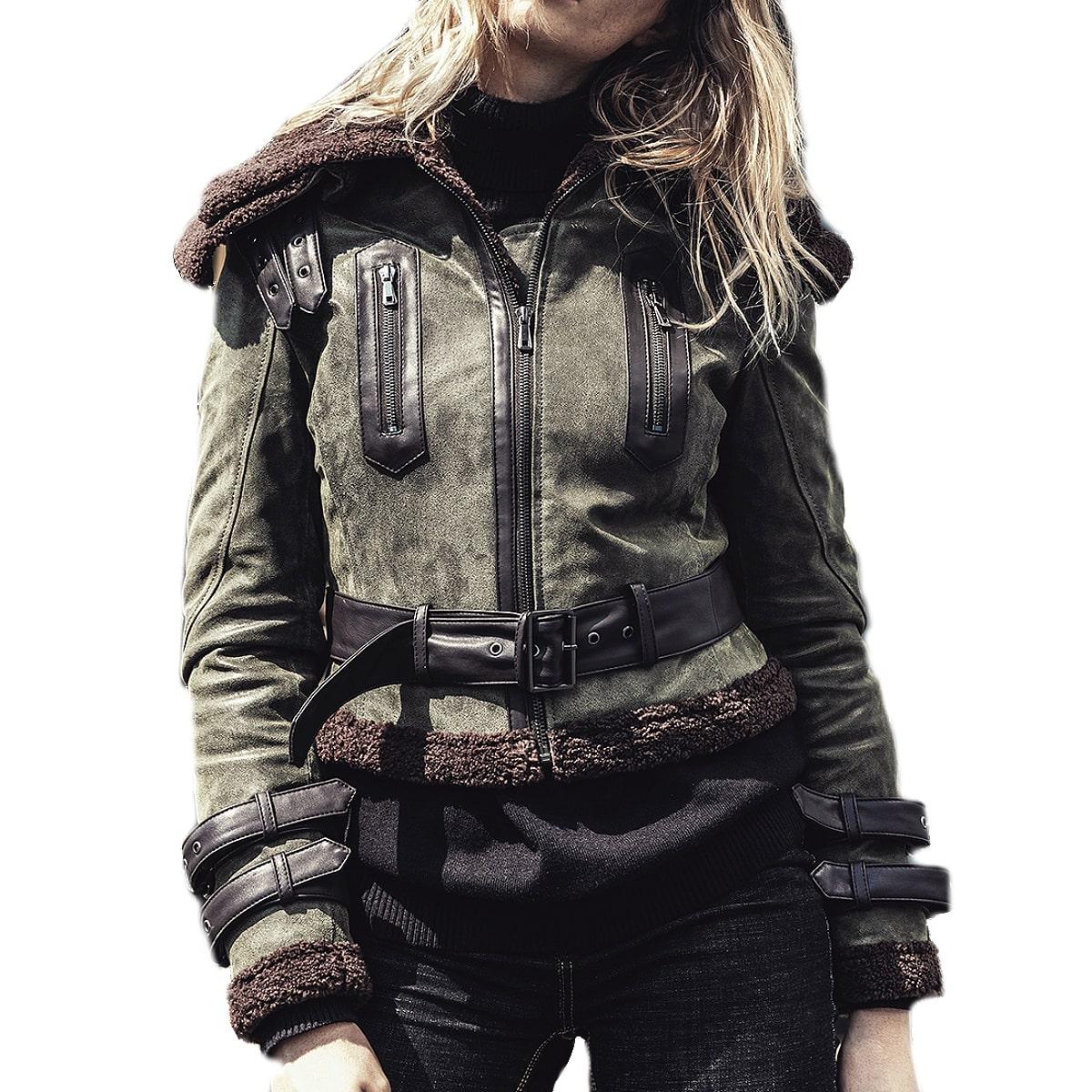 【送料無料!】全7サイズ! [Women's Faux Fur Shearling Pigskin Genuine Leather Military Jacket] レディース フェイクファー ムートン ピッグスキンレザー ミリタリージャケット! ウィメンズ 女性用 本革 豚革 革ジャン ダークグリーン ボア コート アウター バイクに!