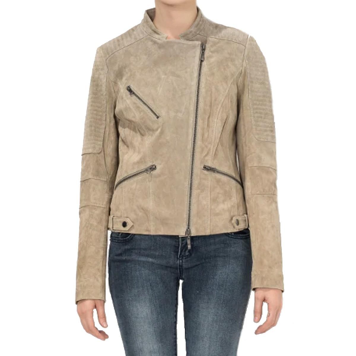 【送料無料!】全7サイズ! [Women's Beige Pigskin Genuine Leather Slim Fit Riders Jacket] レディース ベージュ ピッグスキン ジェニュインレザー スリムフィット ライダースジャケット! ウィメンズ 女性用 本革 豚革 革ジャン コート アウター バイクに!