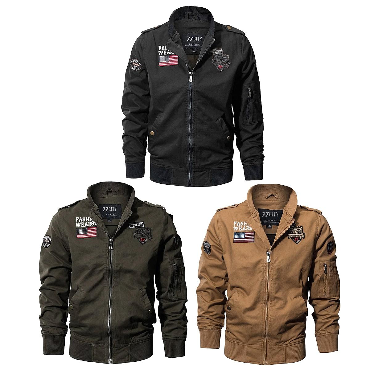 【送料無料!】全3色! 6サイズ! [Men's US Flag Patches Airborne Pilot Jacket] メンズ USフラッグワッペン エアボーン パイロットジャケット! ボンバージャケット ウィンドブレーカー フライトジャケット ジャンパー ブルゾン コート アウター MA-1 ミリタリー バイクに!