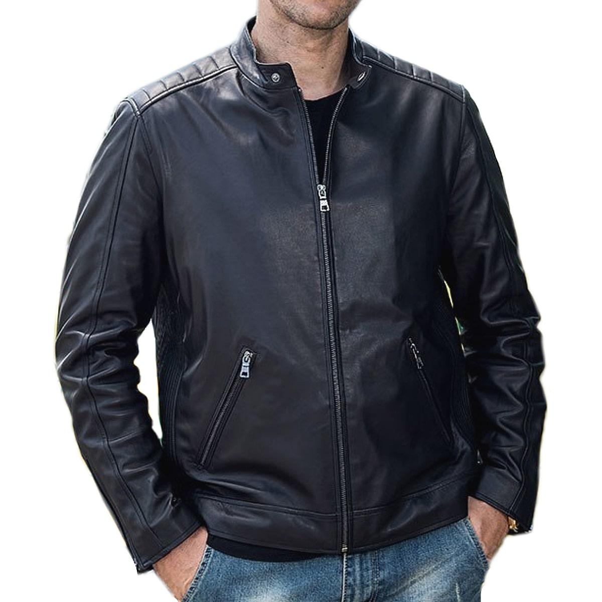 【送料無料!】全10サイズ! メンズ 本革 カウハイドレザー シングルライダースジャケット! 牛革 バイクジャケット ブラック 黒 アウター コート 羽織り 上着 オールシーズン 年中着用可能! 男性用 ビッグサイズ バイカー バイクに!