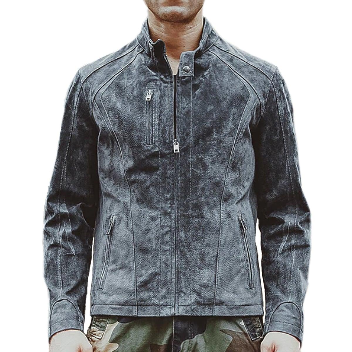 【送料無料!】全10サイズ! メンズ 本革 グレーカラー ピッグスキンレザー シングルライダースジャケット! 豚革 バイクジャケット ビンテージ加工 革ジャン アウター コート 羽織り 上着 オールシーズン 年中着用可能! 男性用 ビッグサイズ バイカー バイクに!