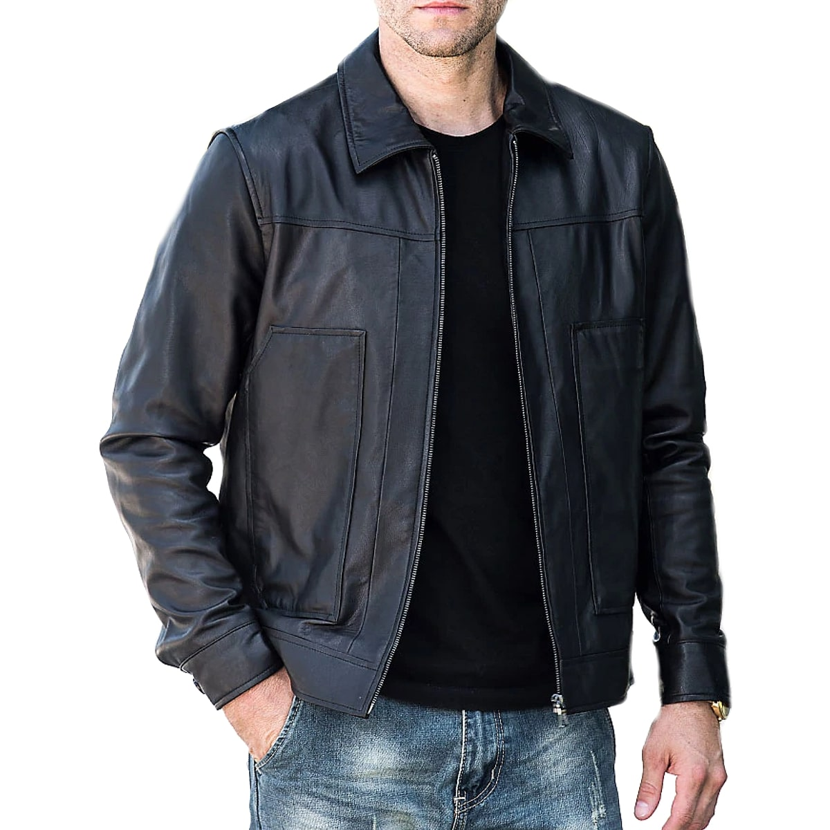 【送料無料!】全10サイズ! メンズ 本革 カウハイドレザー ライダースジャケット! 牛革 バイクジャケット ブラック 黒 アウター コート 羽織り ジャンパー 上着 オールシーズン 年中着用可能! 男性用 ビッグサイズ バイカー バイクに!